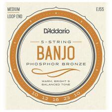 More details for d'addario ej55 5-string banjo strings,phosphor bronze wound,loop end,10-23 med