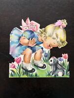 Hallmark Easter Card Bunny Blonde Girl Hall Bros Die Cut Vtg 1947 Curls