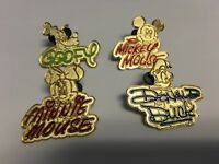 Lot 4 Disney Signatures PINS Mickey Goofy Donald Duck Minnie Mouse Gold Trading