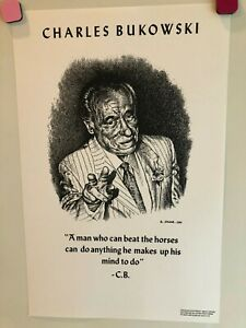 """R. CRUMB - CHARLES BUKOWSKI POSTER - """"A MAN WHO CAN BEAT THE HORSES"""" - 1988"""