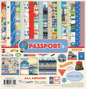 Carta Bella Paper PASSPORT 12x12 Collection Kit Vacation Travel World Plane