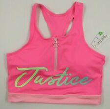 Justice Girls Pink Zip Front Swimwear Swimsuit Top Size 16 NEW
