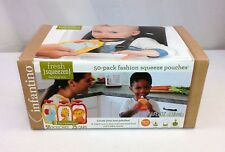 NEW Infantino Squeeze Pouches Fashion Food Storage Fresh Kids Drinks Travel 50ct