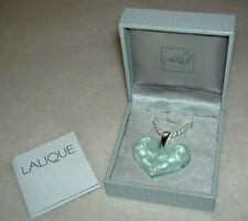 Authentic LALIQUE Green Angelots Heart Angel Cherub Crystal Pendant Necklace NIB