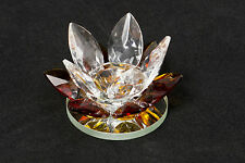 AMBER LILLY CANDLE HOLDER ORNAMENT FLOWER NEW BOXED
