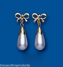 Pearl Earrings Yellow Gold Drop Earrings With Bow