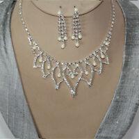 Schmuckset Collier Ohrringe Kristall Strass Braut Halskette Kette Silber 36