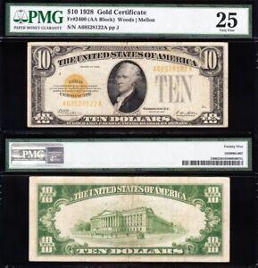 VERY NICE Bold & Crisp VF 1928 $10 GOLD CERTIFICATE! PMG 25! FREE SHIP! 28122A