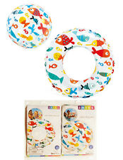 "*2 Pack* Intex Inflatable 24""  Clear Beach Ball and 20"" Ring LIL FISH Pool Toy"