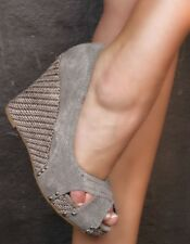COMFORT CANVAS WEDGE HEEL PLATFORM PEEL TOES JEANS GREY SHOES UK 2 EU 35  (971)