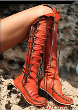 Women Lady Flat Heel Comfort Knee High Boots Shoes Lace Up Knight Leather Boot#