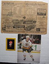 (3) Odd Boston Bruins Items:11/17/1946 Starting Line-Up, Souvenir Pin, Photo