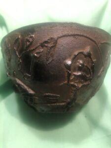 Vintage Mid-Century? Cast Iron Bowl Leaves Mushrooms Trees Read Desc!!