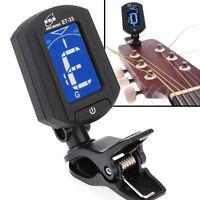 LCD ENO ET33 Mini Clip On Digital Chromatic Guitar Bass Violin Ukulele Tuner UK