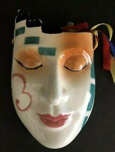 "Vintage Wall Hanging Porcelain Mardi Gras Mask 7.5"" x 4.5"""