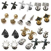 Mens PAIR Stainless Steel Stud Earrings Pair Design Screw back  Womens Girls Boy