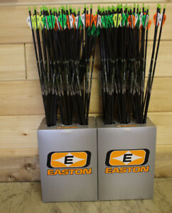 "EASTON AXIS 340 ARROWS 6pk  2"" BLAZER VANES 1/2 DOZEN CARBON ARROWS"