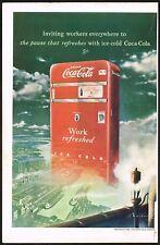 1940s Original Vintage Coca Cola Vending Machine Surrealist Art Print Ad