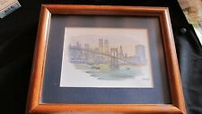 Vintage Twin Towers Mostoff New York City Skyline Watercolor Print Signed Framed