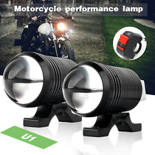2x CREE U1 LED Fisheye Motorcycle Light Headlight Driving Fog Spot Lamp + Switch