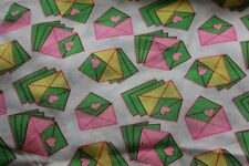 Vintage Estate Fabric 100% Silk 1970s - Pink/Green Hearts & Envelopes R021