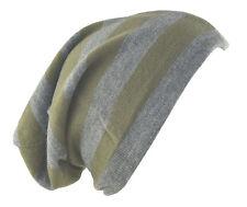 """D&Y Men's Long Beanie Reversible Stripe Knit Hat 12"""" Gray Green"""