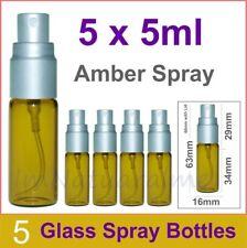 5 X 5ml Amber Spray Aromatherapy Glass Bottle Silver Cap Scientific Sprayer