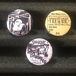 Siouxsie & The Banshees Flyer Button Pin Ticket Stub UK Punk Tour Badge Set Of 3
