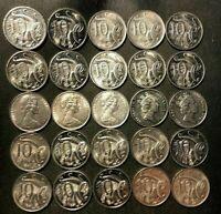 Antiguo Australia Moneda Lote-25 Alta Calidad 10 Centavo Monedas