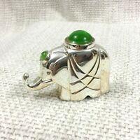Christofle Plaqué Argent Miniature Éléphant Figurine Ornement Verre Cabochon