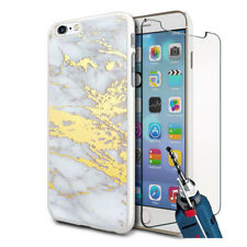 Grey Gold Marble Design Hard Case Cover & Glass For Various Mobiles