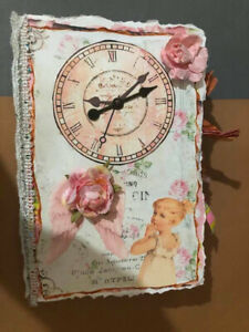 Handmade Pink Antique Junk Journal - OOAK - Filled with Tons of Stuff!