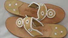 Jack Rogers Women's Navajo Thong Tan/White Leather Sandal Size 7.5 M
