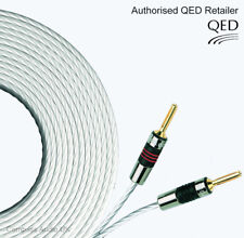 2 x 1.5m QED Silver MICRO Speaker Cable AIRLOC Forte Banana Plugs Terminated