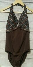 Vintage Maxine of Hollywood Women's Bathing Suit Size 14 Brown Polka Dot 1 pc.