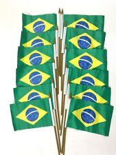 "12 Mini Brazil Country Stick Flags Banner 4 X 6 Inch with 10"" Plastic Pole"