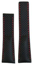 20mm Panatime Black Carbon Fiber Style Watch Band w Red Stitch For Breitling Dep