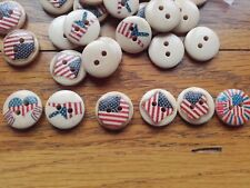 Job Lot 100 Mixed Round Wooden USA America Buttons 15mm  Knitware Sewing