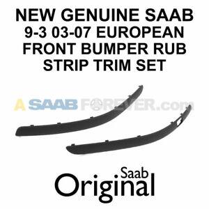 NEW GENUINE SAAB 9-3 03-07 EUROPEAN FRONT BUMPER TRIM RUB STRIP KIT LH & RH OEM