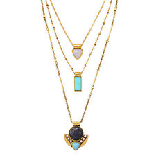 Blue Grotto Capri Three-Row Convertible Necklace Geometric Pendant Vintage Gold