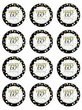 60th birthday  gold birthday edible cupcake Toppers Wafer or Icing x 12