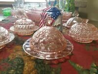 Jeannette Pink Depression Glass CUBE CUBIST Round Covered Butter Dish chip2