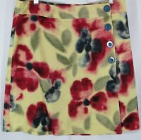 FEI ANTHROPOLOGIE Size 10 Abstract Floral Fine Wale Corduroy Button Wrap Skirt