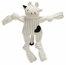 "HUGGLEHOUNDS WEE 6"" WHITE & BLACK COW CORDUROY KNOTTIES DOG TOY PLUSH"