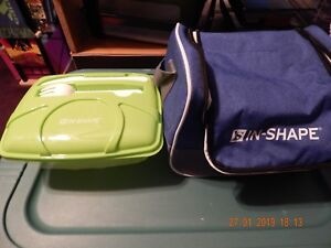 IN-SHAPE GYM LUNCH COOLER PLASTIC FOOD CONTAINER WITH UTENSILS LUNCH BAG NEW