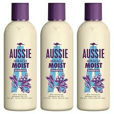 3 x Aussie Miracle Moist Shampoo for Dry Really Thirsty Hair - 90ml Travel Size