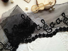 Black Vintage Music Note Cotton Mesh Lace Edge embroidered Sewing Craft