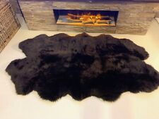 Quad 4 Pelt Super Thick Soft Luxury Pile Genuine Chocolate Natural Sheepskin Rug