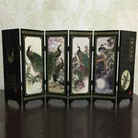 6-Panel Peacock Screen Room Divider Wood Folding Partition Commemorative-Gift