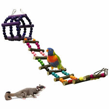 Natural Wood Pet Ladder Cage Hanging Suspension Bridge Parrot Hamster Gerbil Toy